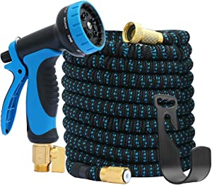 """Expandable Garden Hose 100FT&Garden Hose 10 Function Spray Hose Nozzle 3-Layers Latex,3/4"""" Solid Brass Connectors,Extra Strength 3300D Durable Gardening Flexible Expanding Hose&Storang Bag for Carry"""