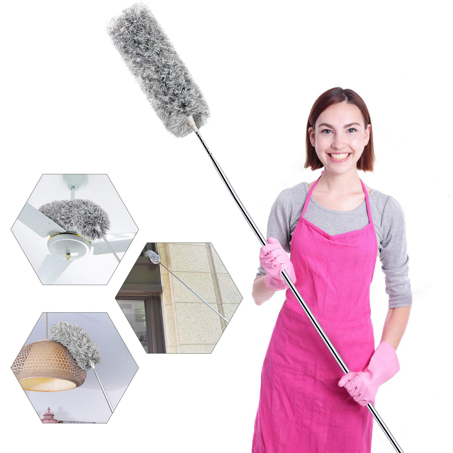 """Microfiber Duster for Cleaning with Telescoping Extension Pole(Stainless Steel) 30 to 100"""" Extendable Long Duster for Cleaning High Ceiling Fan,Blinds, Baseboards,cars"""