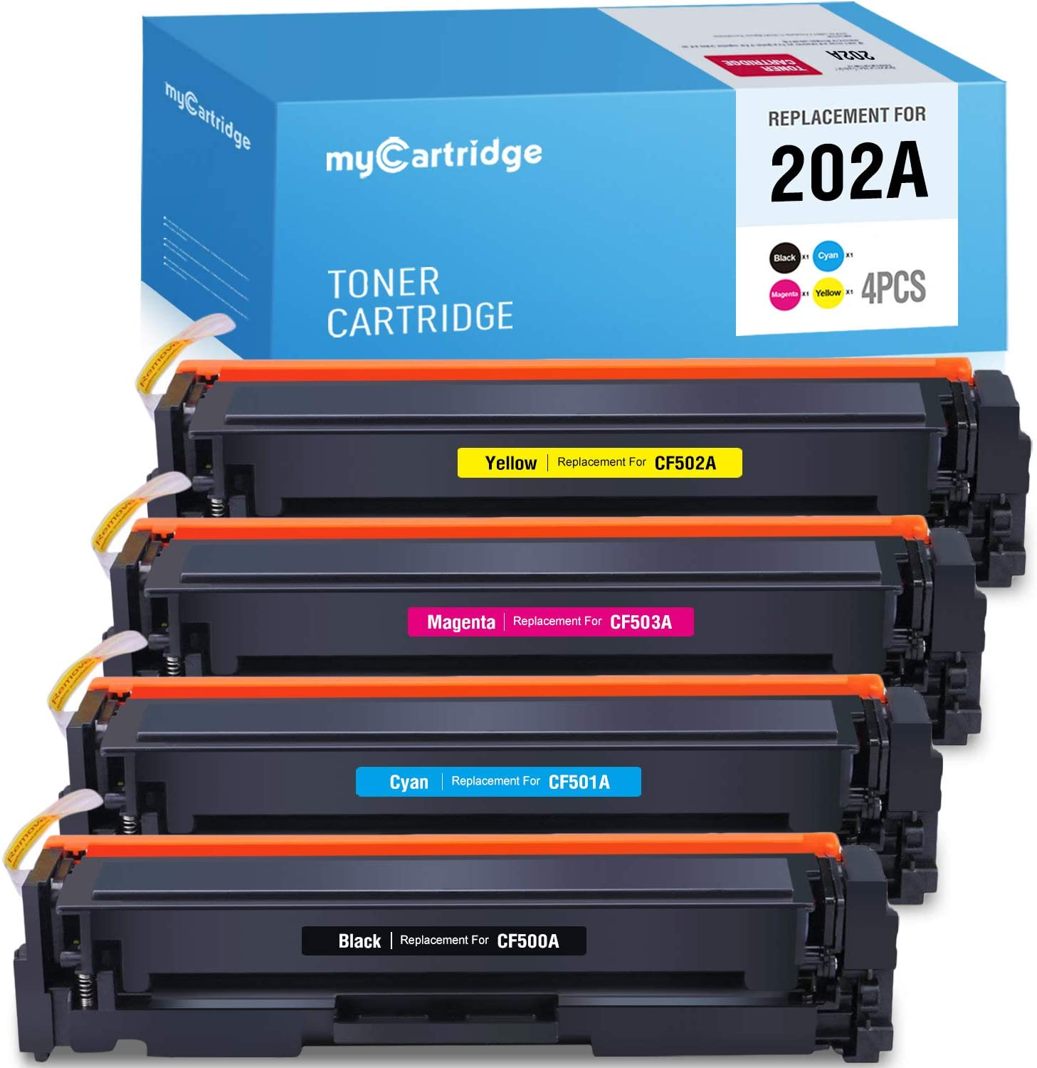 myCartridge Compatible Toner Cartridge Replacement for HP 202A CF500A CF501A CF502A CF503A (1BK 1C 1Y 1M, 4PK) Fit for HP Color Laserjet Pro MFP M281fdw M281cdw M281dw M280 M254