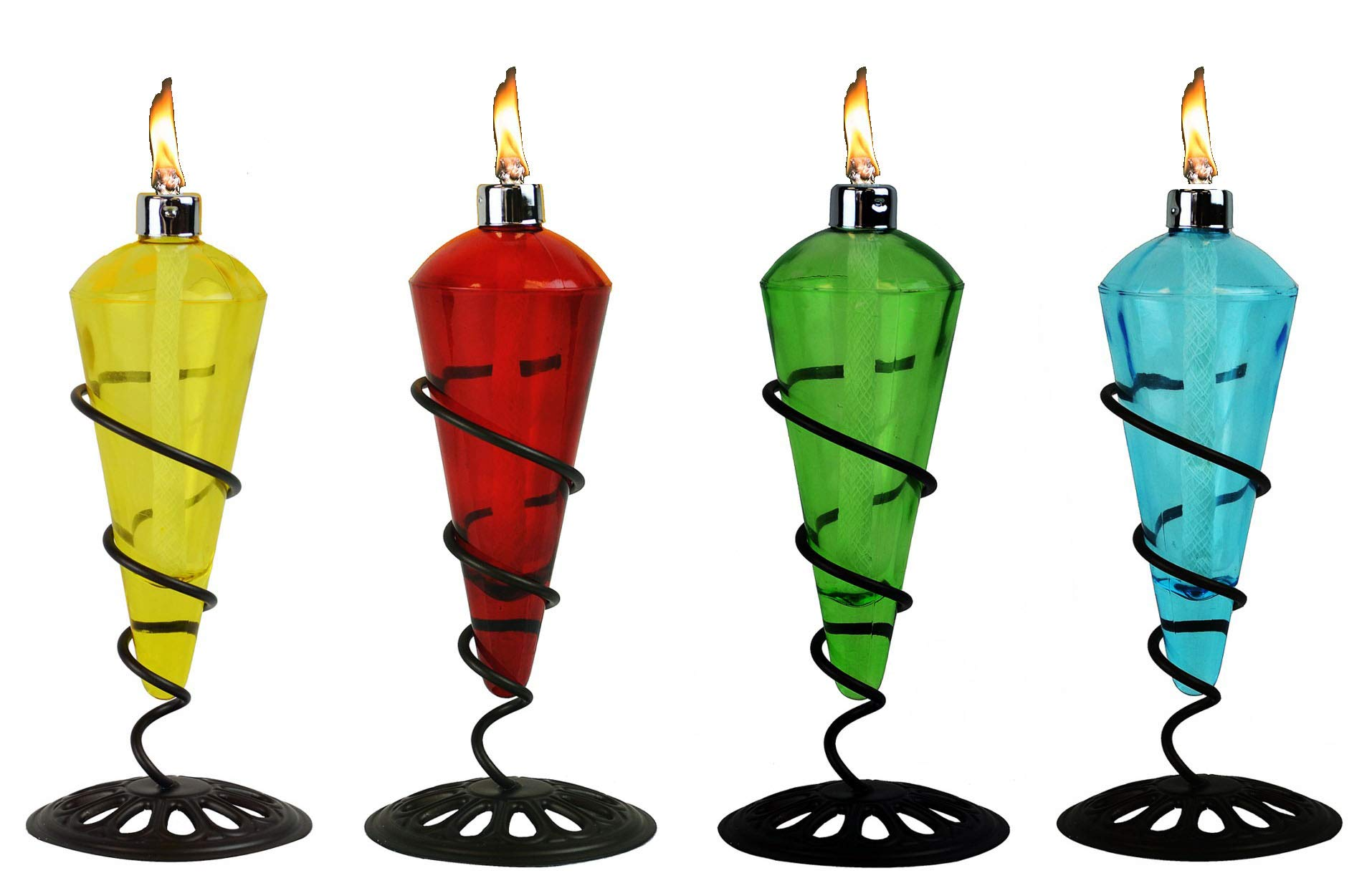 4 Pack 11 in Assorted Color Table Top Torch - Burning Citronella / Lamp Oil Product SKU: GD10079