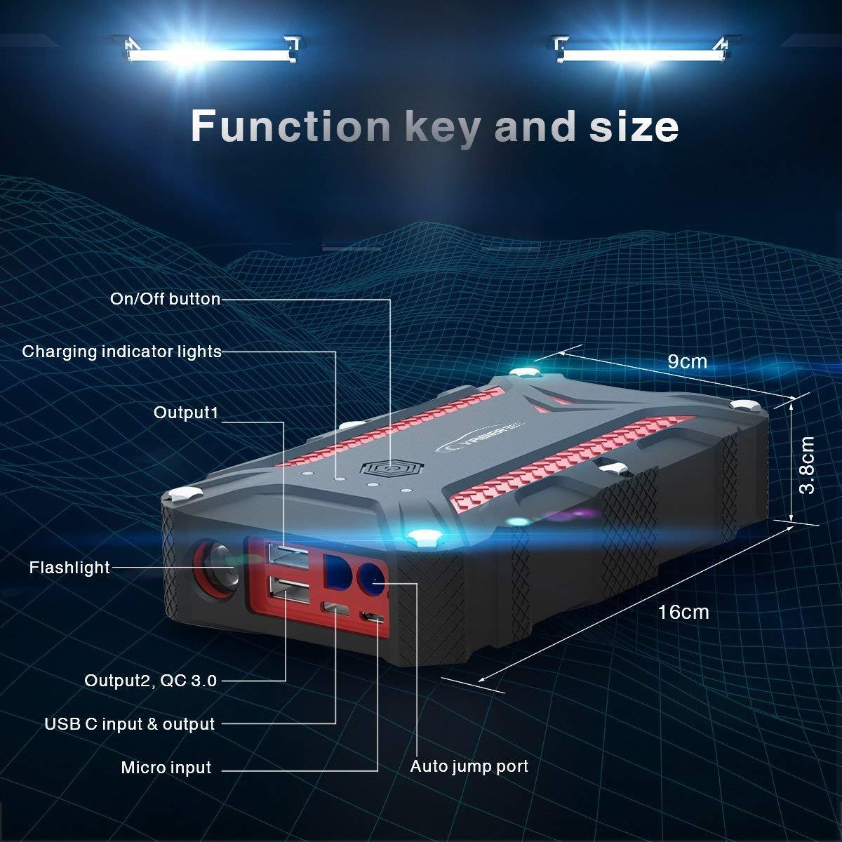 YABER Booster Batterie-D/émarreur de Batterie de Voiture jusqu/à 7,5 L dessence ou 5,5 L Diesel c/âble de d/émarrage Intelligent Booster de d/émarrage 12V avec /écran LCD