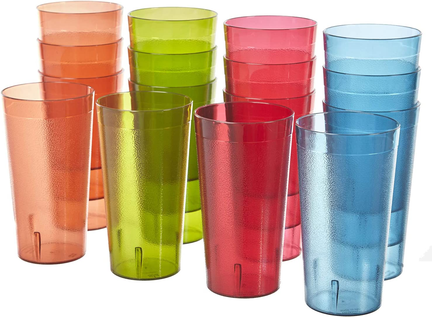 Cafe Break Resistant Plastic 20oz Restaurant Quality Beverage Tumblers Set Of 16 In 4 Assorted Colors Mixed Drinkware Sets