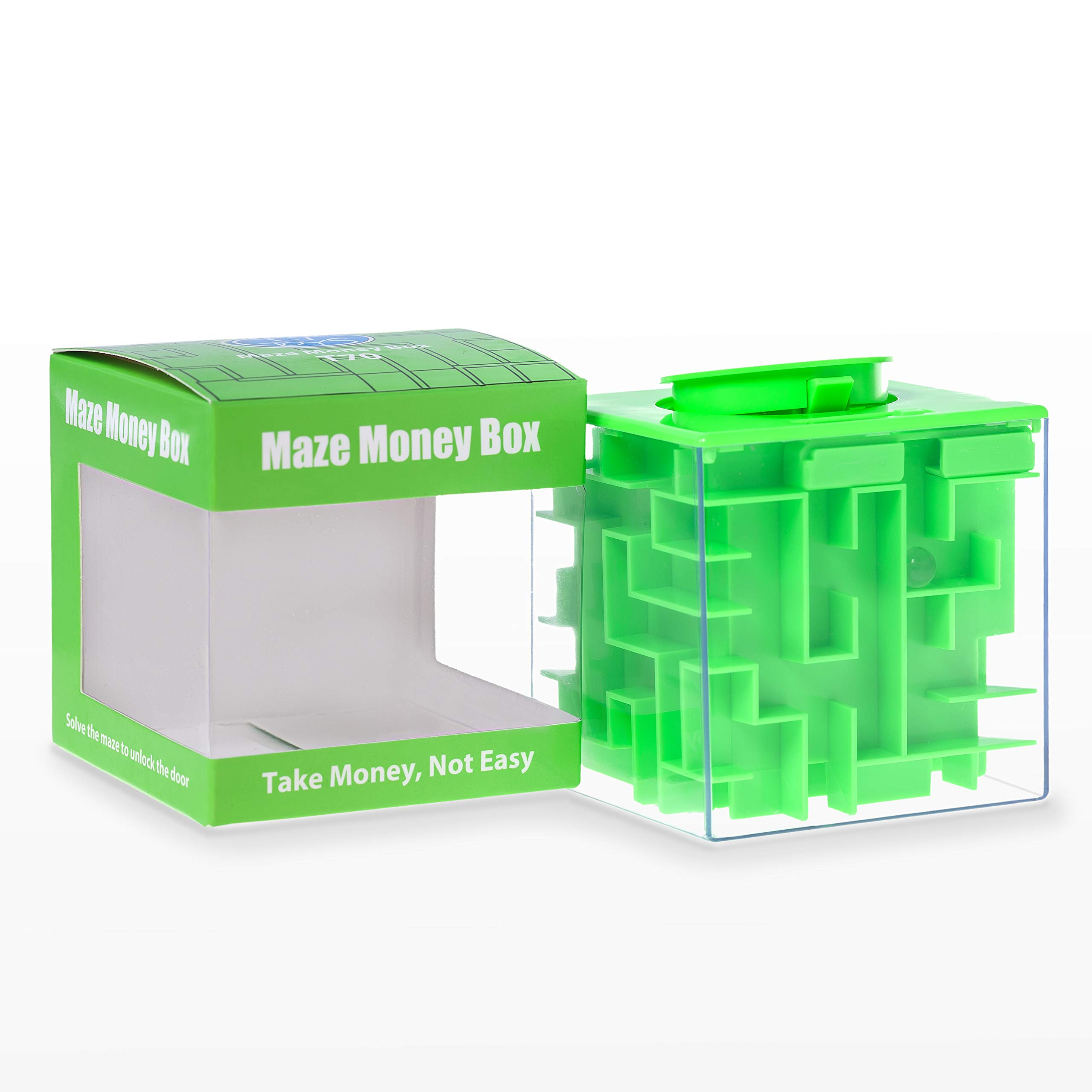 Elfesto Money Maze Puzzle Box: 3D Maze Money & Credit Card Gift Cube| Piggy Bank Money Holder/Saving Box|Fun, Challenging Game/ Brain Teaser for Kids & Adults|Top Money Gifting Puzzle Cube Box| Green