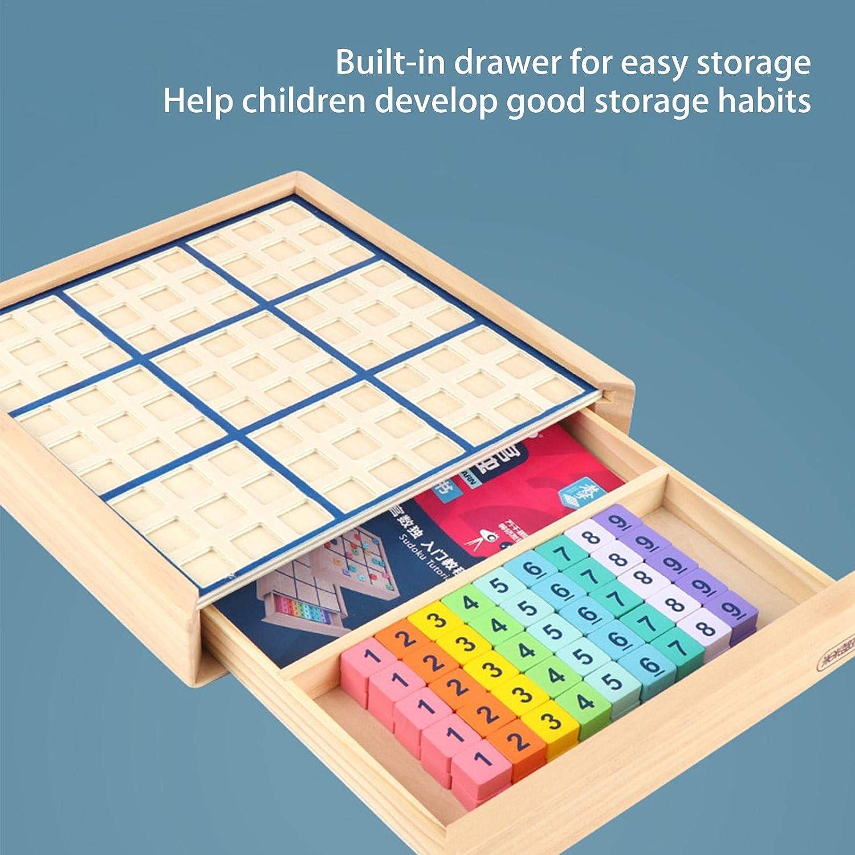 Juguete Educativo Inteligente para Juegos de Mesa de Madera 8.86x8.86x1.38 Pulgadas Rompecabezas de n/úmeros de Juegos de Mesa de Sudoku con caj/ón A//B Sudoku de Madera para ni/ños