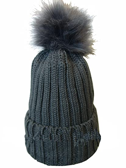 178c48a7c54 Ladies Soft Chunky Knitted Woolly Beanie Faux Fur Bobble Pom Pom Ski Winter  Hats (Onesize