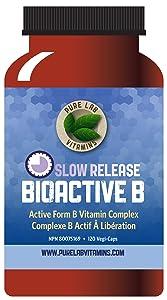 Pure Lab Vitamins Bioactive B Complex - Slow Release - 120 Vegi Caps, Balanced B Vitamin Formula, All in bioactive Form. Slow Release to Extend bioavailability.