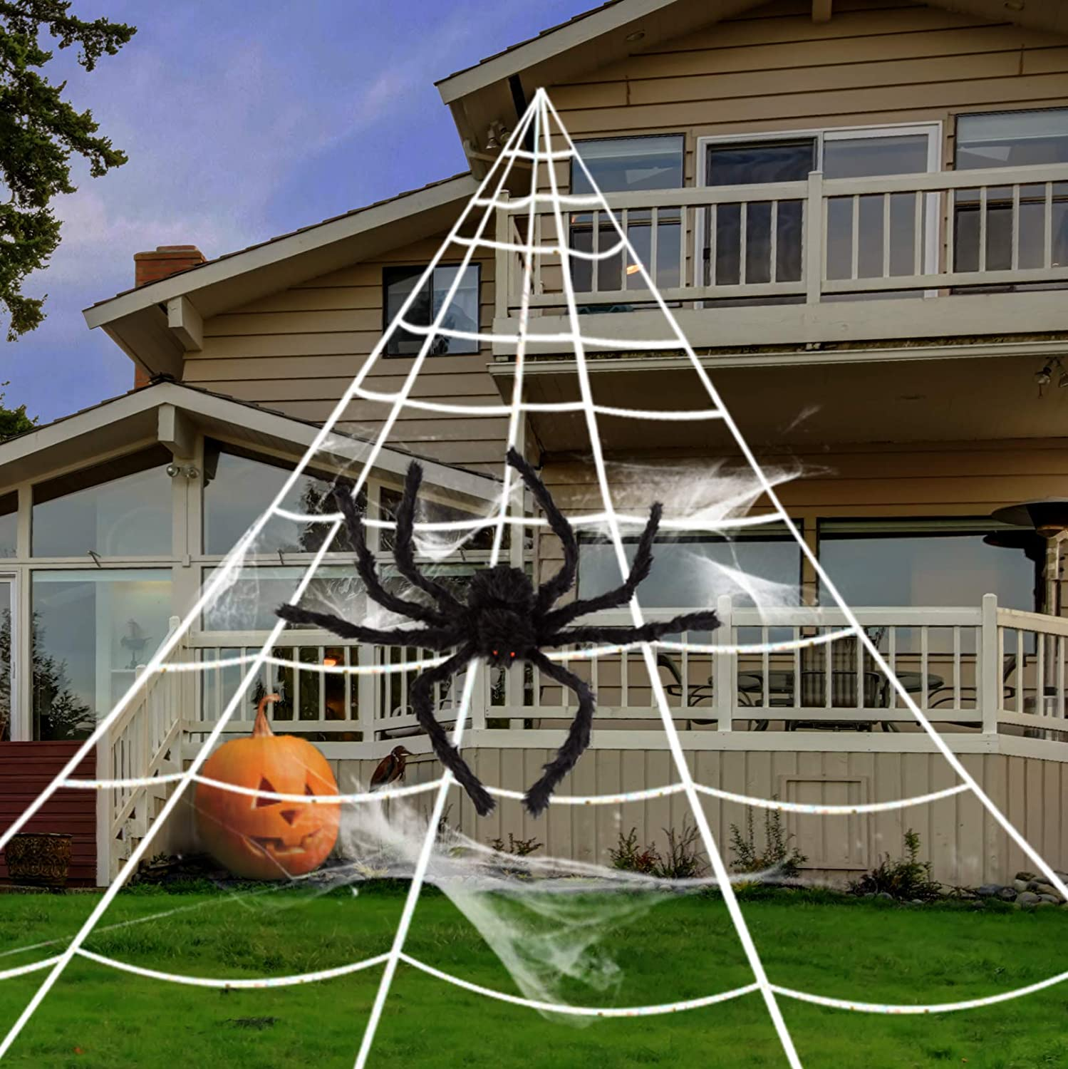 GIGALUMI Halloween spider web lace cloth 60g cobwebs 30 spiders horror halloween spider web decoration set for Halloween d/écor party carnival