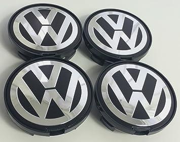 Juego de chapas de 4 Logo Volkswagen plata negro 63 MM soporte de llantas de aleación ...