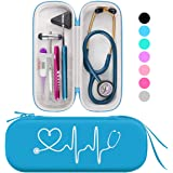 BOVKE Travel Carrying Case for 3M Littmann Classic III Stethoscope - Extra Room for Taylor Percussion Reflex Hammer and Reusable LED Penlight, Turquoise