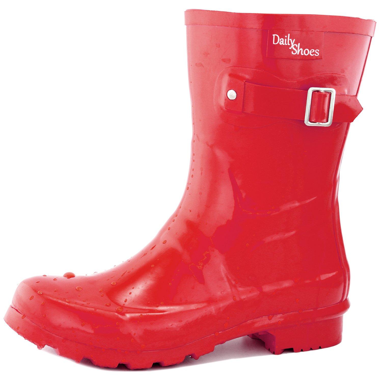 DailyShoes Women's Mid Calf Buckle Ankle High Hunter Rain Round Toe Rainboots B017L0C57C 5 B(M) US|Red