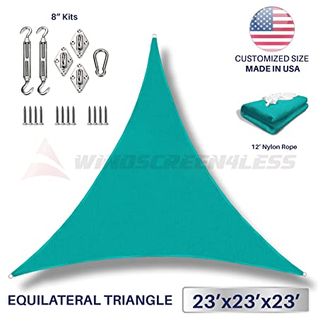 Windscreen4less 23 x 23 x 23 Equilateral Triangle Sun Shade Sail with 8 inch Hardware Kit – Turquoise Green Durable UV Shelter Canopy for Patio Outdoor Backyard – Custom Size