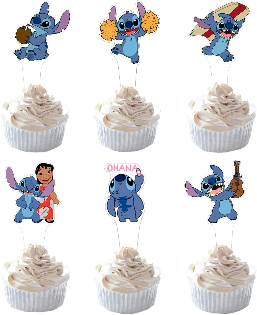 Party Hive 24pc Lilo Stitch Cupcake Toppers for Kids Birthday Party Event Decor