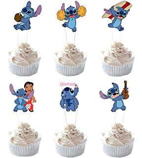 Lilo and Stitch Deluxe Birthday Cake Topper Set Featuring Figures and Decorative Themed Accessories Cake Toppers