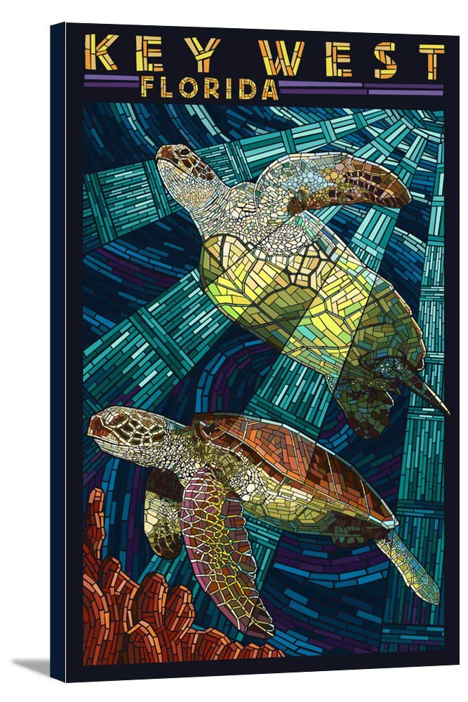 キーWest , Florida – Sea Turtleモザイク 16 x 24 Gallery Canvas LANT-3P-SC-44525-16x24 16 x 24 Gallery Canvas  B01843PUZO