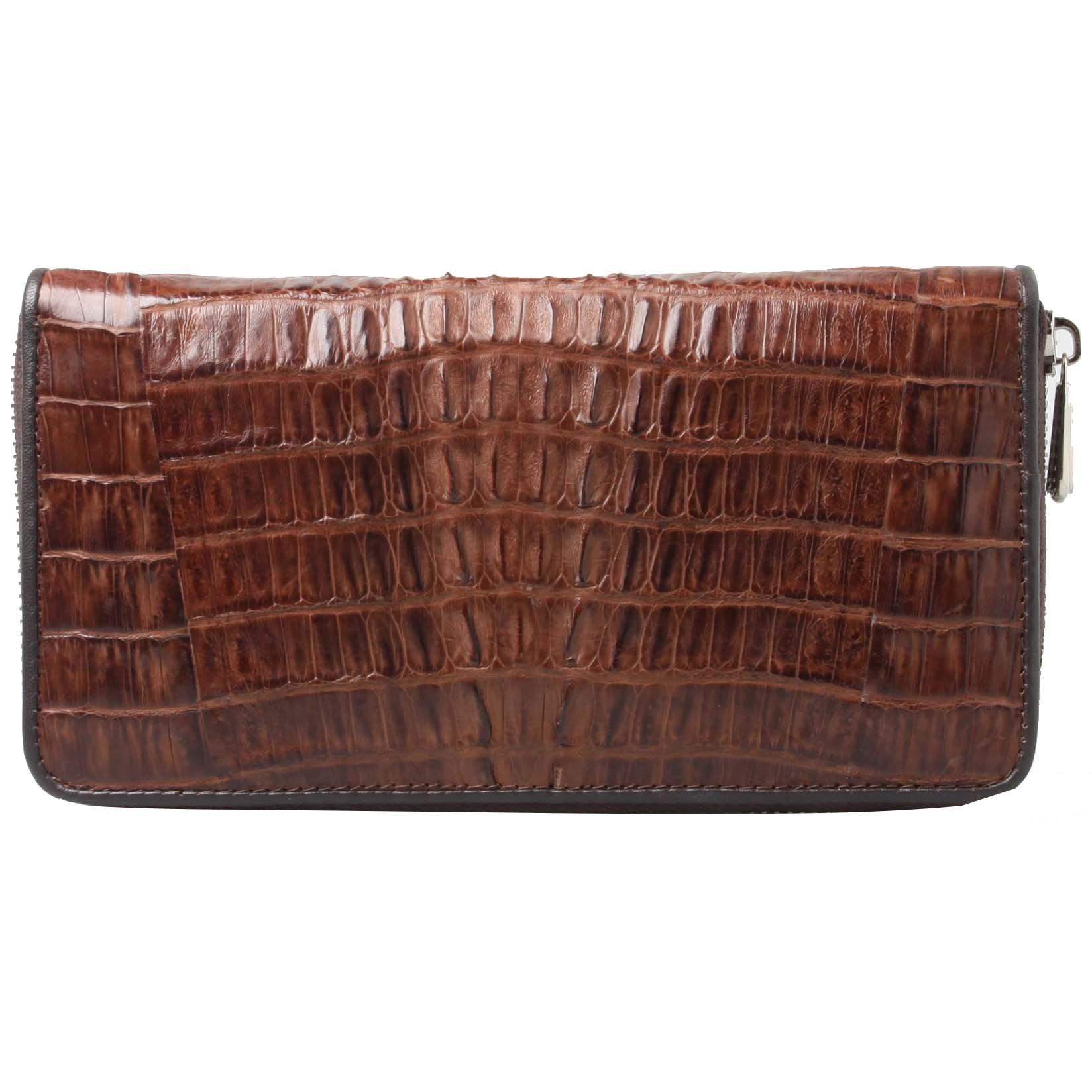 Genuine Crocodile Tail Skin Brown Clutch Women Card Zip Around Coin Wallet Purse by Kanthima