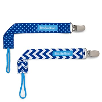 BooginHead Baby Newborn PaciGrip Pacifier Clip, Polka Dots, Chevron, Blue (Pack of 2)