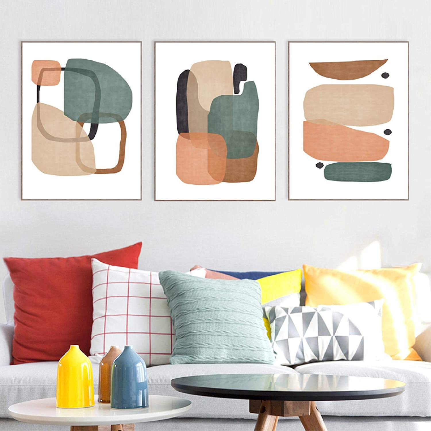 NFXOC Green Modern Orange Abstract Geometric Trio Art Posters and Prints Minimalist Wall Art Painting Pictures for Home Decor (40x60cm) 3pcs Frameless