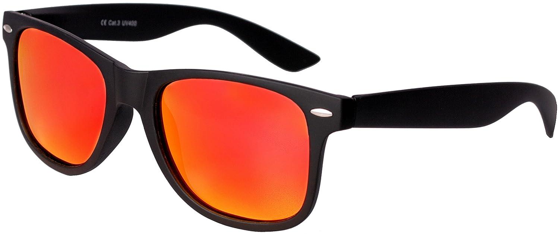 Hochwertige Polarisierte Nerd Rubber Sonnenbrille im Set (24 Modelle) Retro Vintage Unisex Brille mit Federscharnier (Black-Rose Mirror) aDC3ewln