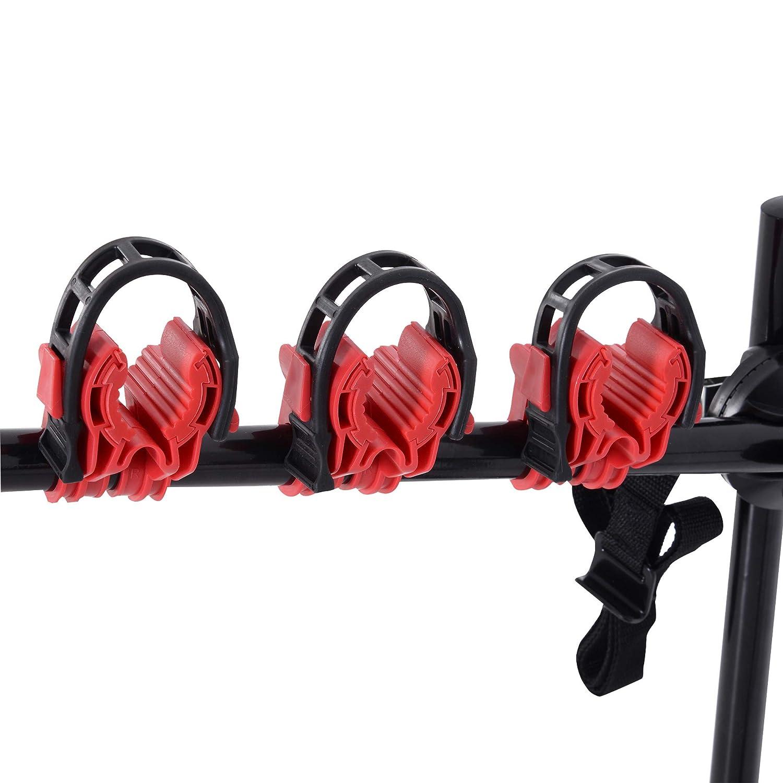 Kunststoff HOMCOM Fahrradhecktr/äger f/ür 3 Fahrr/äder Fahrradtr/äger Hecktr/äger faltbar mit Sicherheitsgurte Metall