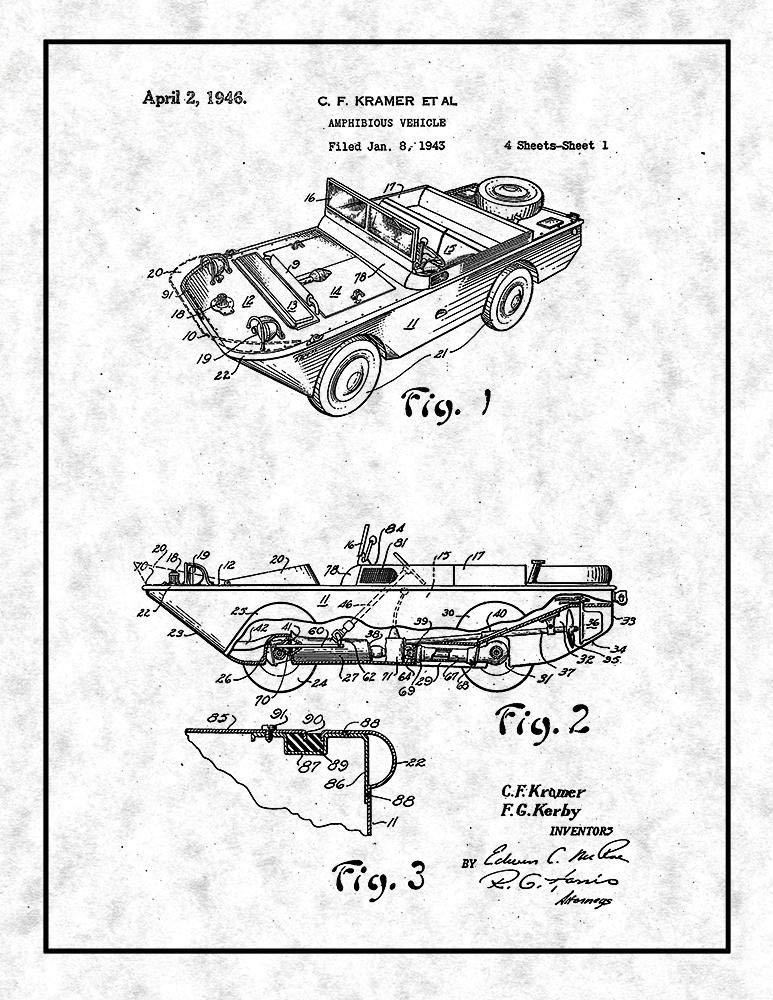 Amazon Com Amphibious Vehicle Patent Print Gunmetal With Border 8