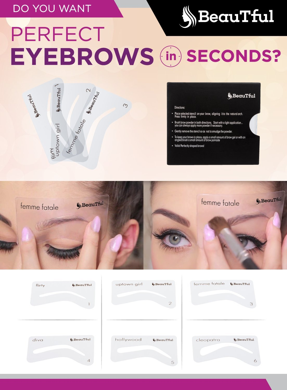 Easy To Use Eyebrow Stencils Eyebrow Shape Amazon Beauty