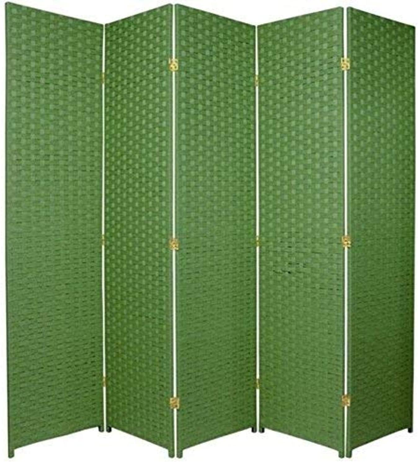 Oriental Furniture 6 ft. Tall Woven Fiber Room Divider - 5 Panel - Light Green