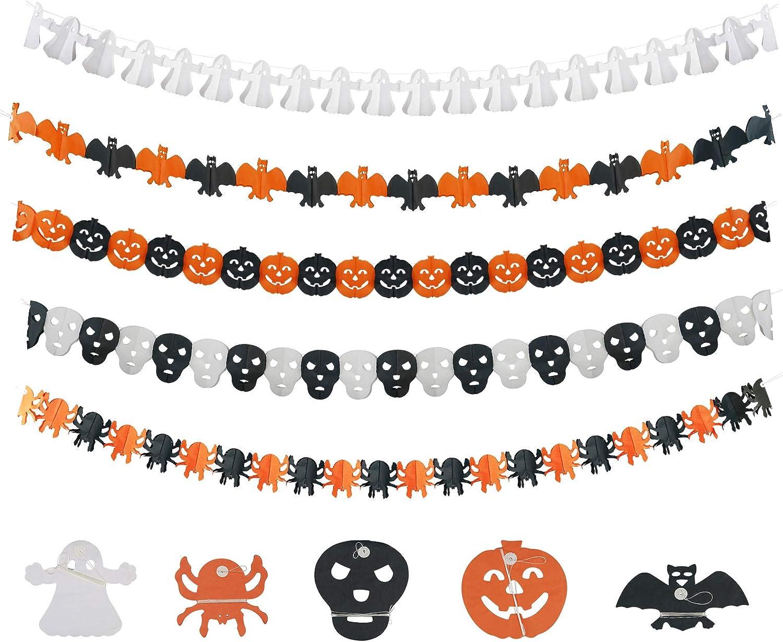 KATOOM Halloween Garland decoración 5pcs Bunting Halloween de Papel Calabaza fantásma Spider Skull Forma para adornar Fiesta de Halloween Fantasmas Fiesta Evento a Adultos jovénes niños