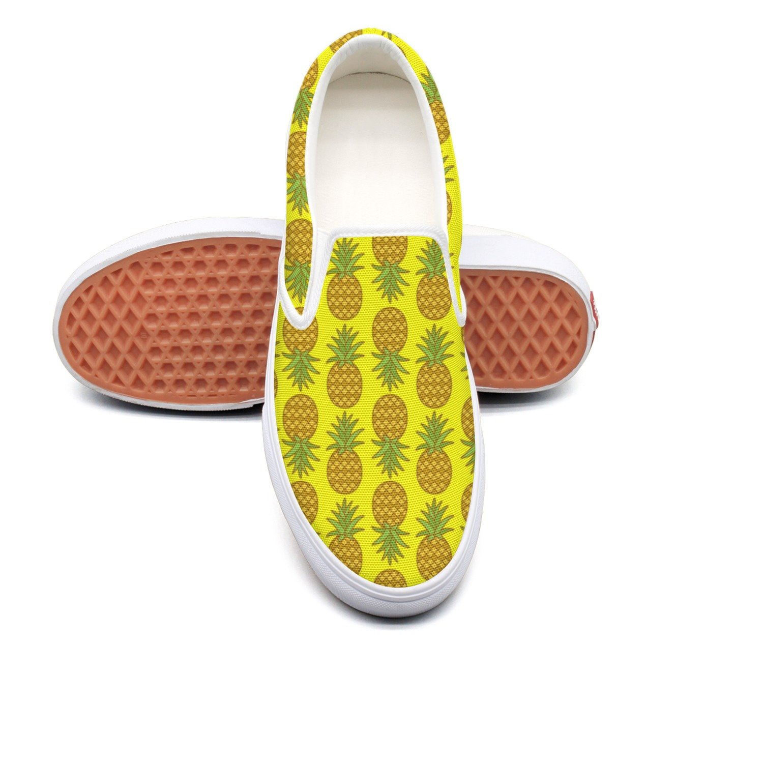 Women Yellow Pineapple Plant Casual Loafers Slip On Sneakers Low Top