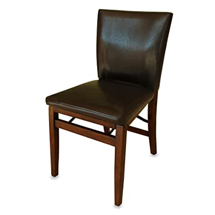 Harper Faux Leather Folding Chair In Padded Seat And Back Provides A  Comfortable Seat (Dark