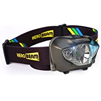 HeroBeam® LED Head Torch - Best Pocket-Sized Headlamp for Running, Dog Walking, Fishing, Biking, Camping, Watching Nature, Reading, Cycling or DIY - White/Red Lighting Modes - Lightweight, Comfortable and Weatherproof - includes DURACELL Batteries - UK COMPANY & 5 YEAR WARRANTY