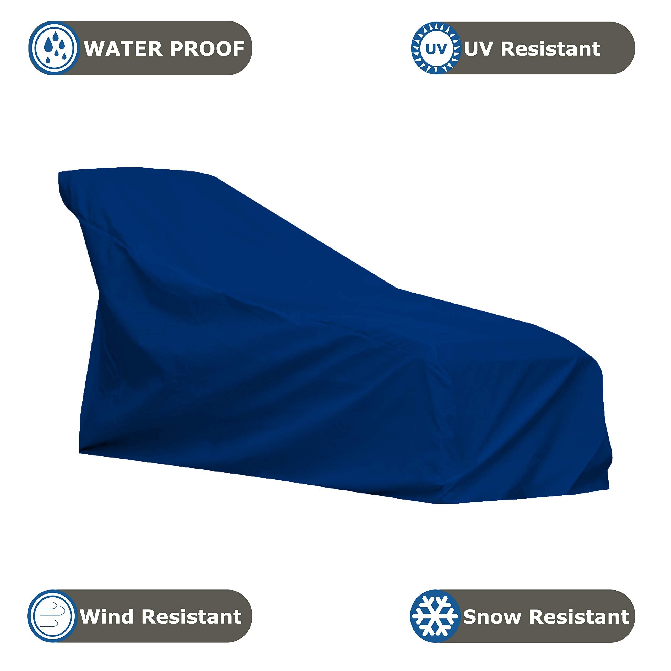 COVERS & ALL Chaise Lounge Cover 18 Oz Waterproof - 100% UV & Weather Resistant Outdoor Chaise Cover PVC Coated with Air Pockets and Drawstring for Snug Fit (80W x 34D x 32H, Blue) by COVERS & ALL (Image #3)