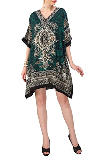 681bc6dd90f Women s Kaftan Tunic Kimono Dress Summer Evening Plus Size Beach Cover Up  10 -24
