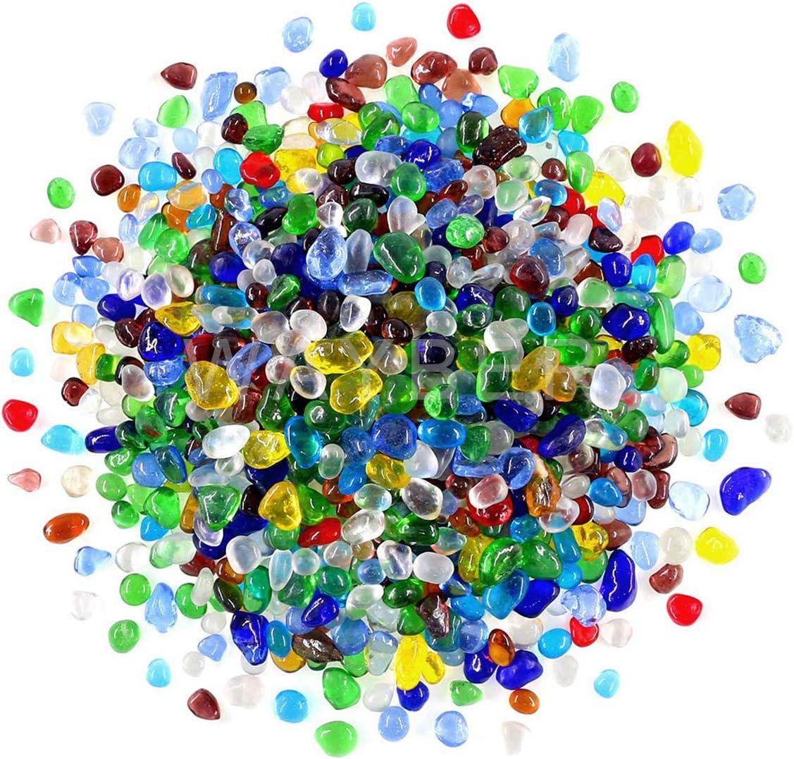 WAYBER Rainbow Glass Stones, 1Lb/460g Irregular Sea Glass Pebbles Non-Toxic Artificial Crystal Stones for Handmade Artwork/Vase Filler/Terrarium Flowerpot Aquarium Turtle Tank Decoration