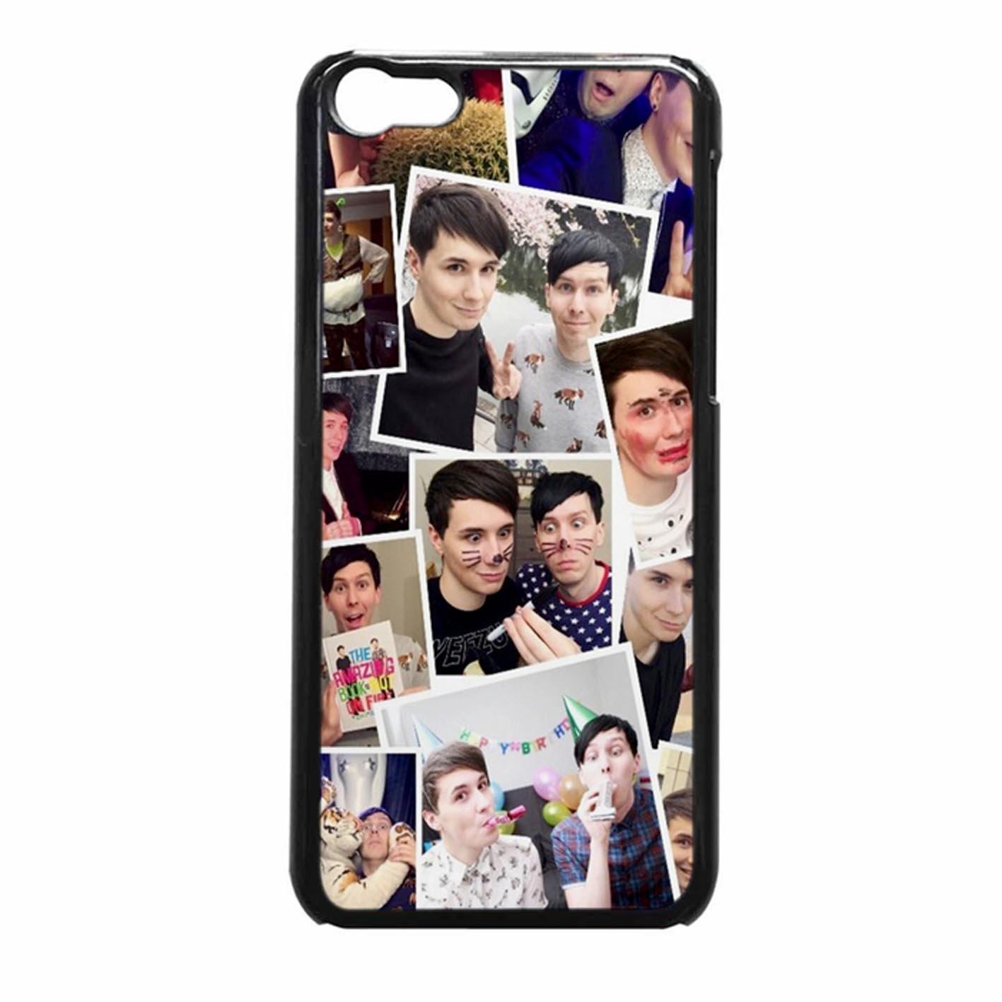 Dan And Phil Photo Collage Case Cover / Color Nero Plastic / Device iPhone 5c