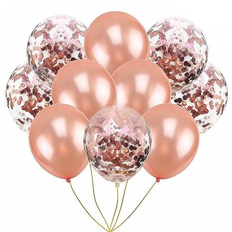 Konfetti Ballons Rosegold Luftballons 30 Stuck 12 Metallic Latex