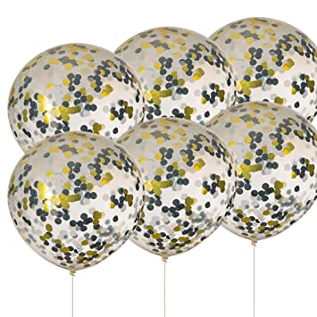 36 Black White Gold Confetti Balloons Wedding Birthday Party New Years Christmas Decorations Pack Of 6