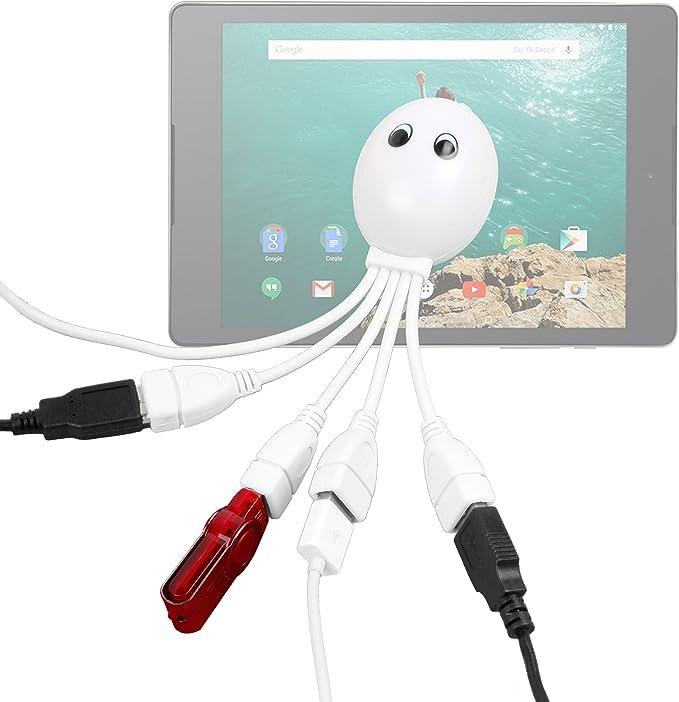 DURAGADGET-Hub USB 2,0 4 puertos, diseño de pulpo para Tablet táctil Carrefour CT1000, CT1020W CT720 y Touch, Neo2 CT820 () 8 GB, Android: Amazon.es: Electrónica