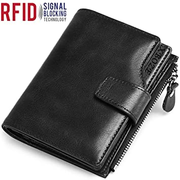 19e70afc1843 Mens Leather Wallet RFID Blocking Mens Bifold Wallet with 12 Card Holder    ID Window Gents