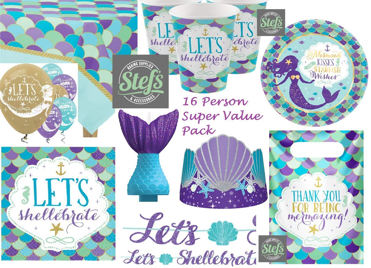 Mermaid Wishes Party Pack - 16 Person Super Value Pack   B07HHF2S3T