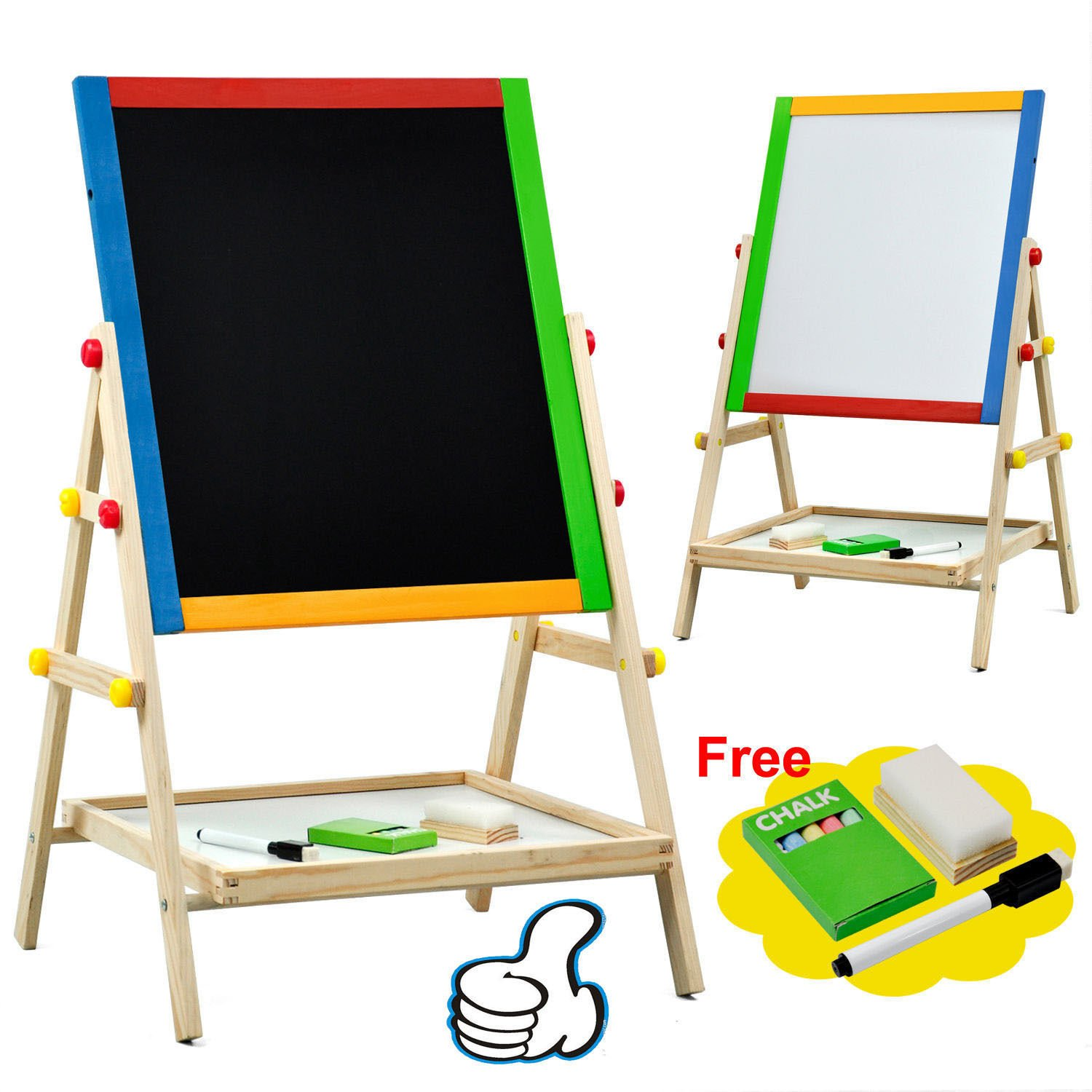 Large Adjustable Children Kids 2 In 1 Black White Wooden EaselDrawing Board by Worldpride1 (Image #1)