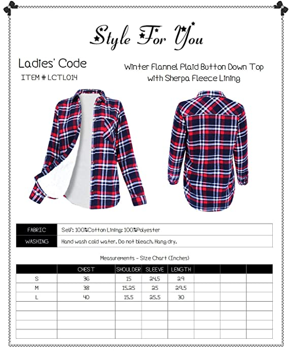 d71bbfd4 Amazon.com: Winter Flannel Plaid Button Down Top with Sherpa Fleece Lining  Black Ivory S Size: Clothing