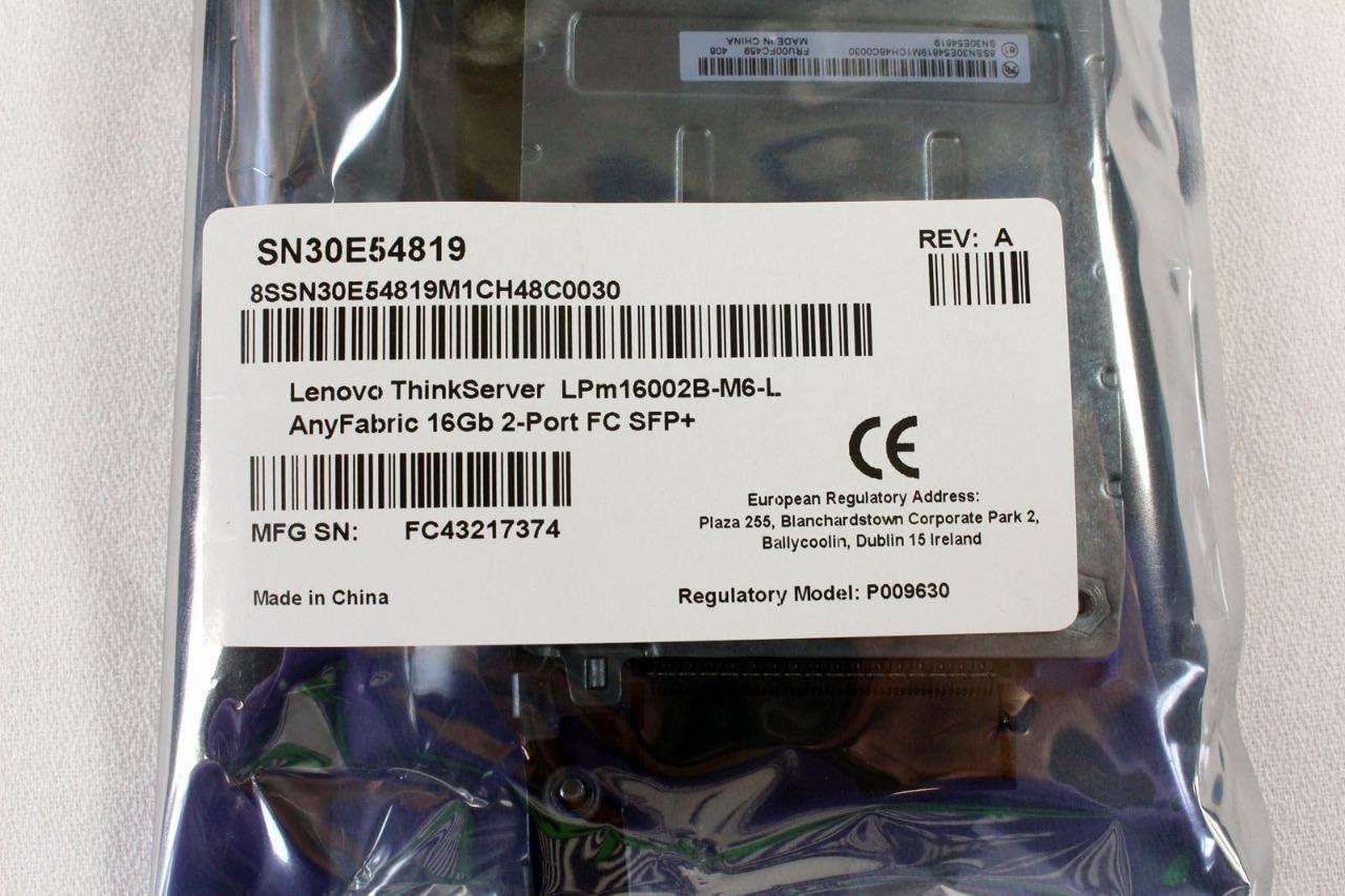 Lenovo New ThinkServer LPm16002-M6-L AnyFabric 16Gb 2 Port Fibre Channel Adapter 4XB0F28706 SN30E54819