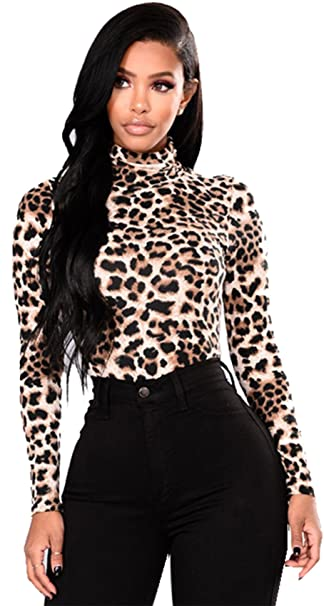 fb8b427c4742d Arctic Cubic Long Sleeve Leopard Turtleneck High Mock Neck Basic Base Blouse  Shirt T-Shirt