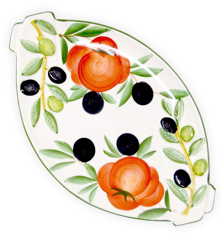 25 x 15 cm Servierteller aus italienische Keramik Tomaten Oliven Gr/ö/ße Lashuma handgemachte Servierplatte oval