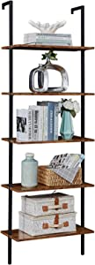 SUPERJARE Industrial Ladder Shelf, 5-Tier Wood Wall-Mounted Bookcase with Stable Metal Frame, 72 Inches Storage Rack Shelves Display Plant Flower, Stand Bookshelf for Home Office - Rustic Brown