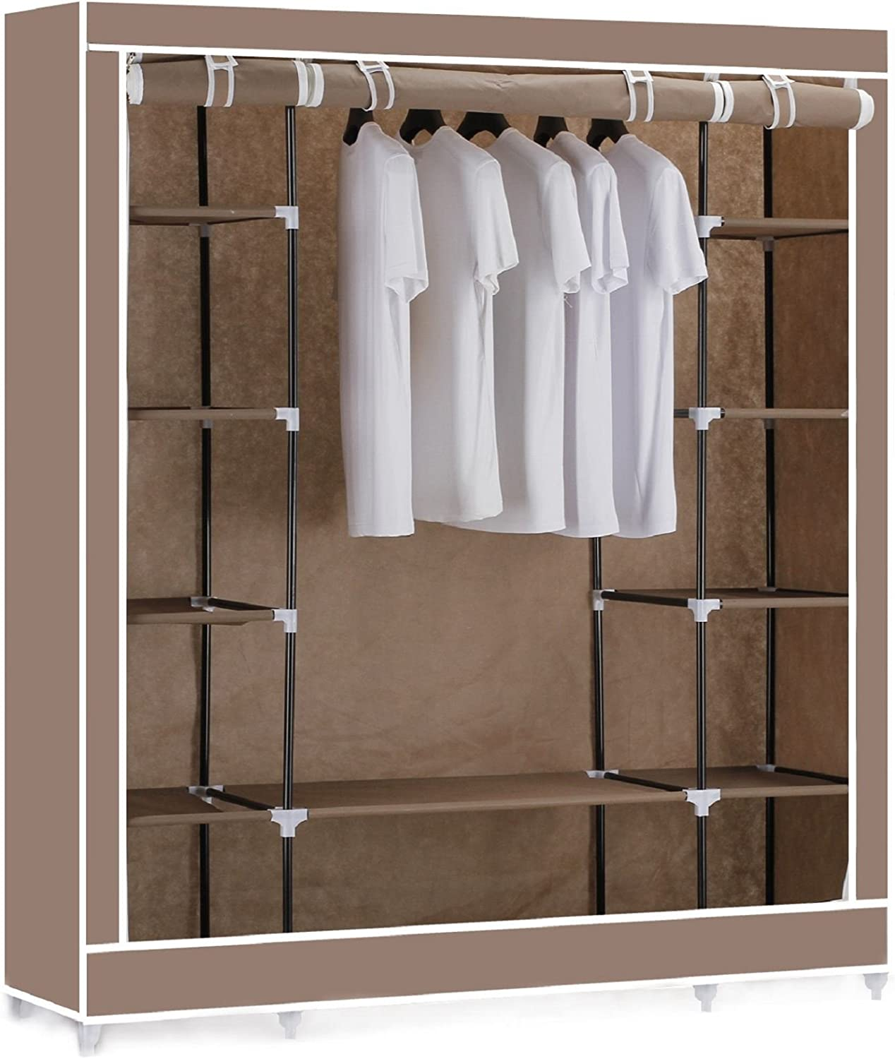 Vinsani® Triple Canvas Clothes Wardrobe Cupboard Hanging Rail With Storage Shelves