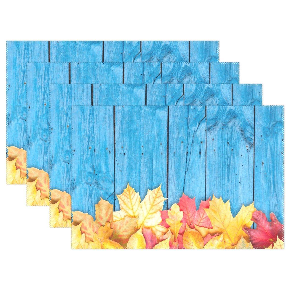 Autumn Leaves Over木製背景印刷、プレースマットalirea耐熱プレースマット汚れ防止滑り防止洗濯可能ポリエステルテーブルマット非スリップEasy Cleanプレースマット、12