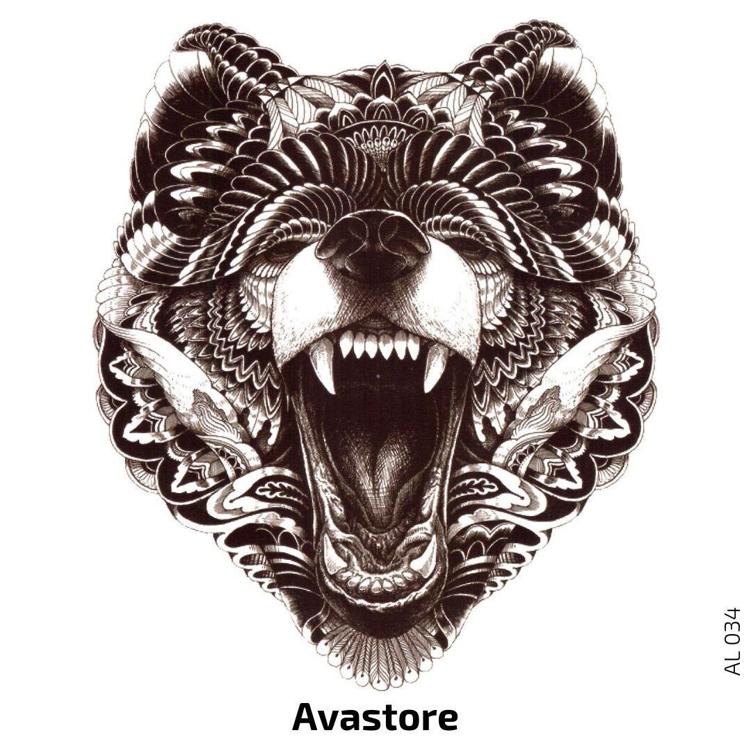 Avastore - Tatuaje temporal, diseño de cabeza de oso: Amazon.es ...