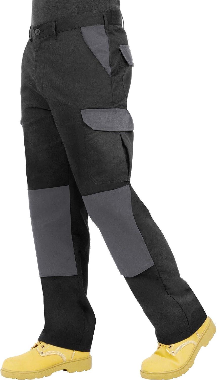 Modello Cargo Resistenti da Lavoro ProLuxe Pantaloni da Uomo Blu Navy Grigio//Nero e Nero//Grigio con Tasche per Cuscinetti sulle Ginocchia e Cuciture rinforzate; Disponibili in Nero