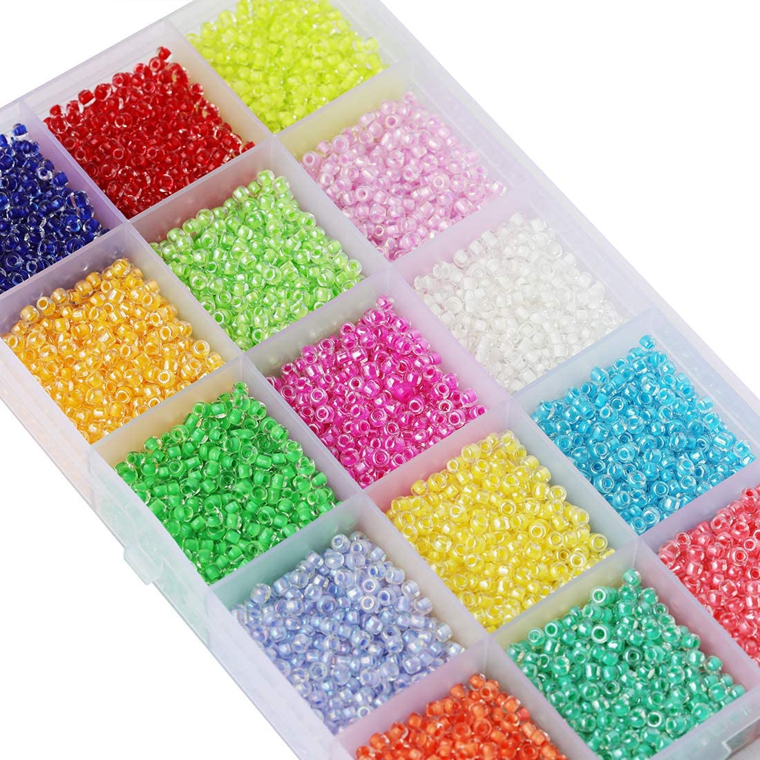 About 500pcs//Color, 15 Colors BALABEAD About 7500pcs in Box 8//0 Rainbow Colors Lined Glass Seed Beads 3mm Lustered Loose Spacer Beads
